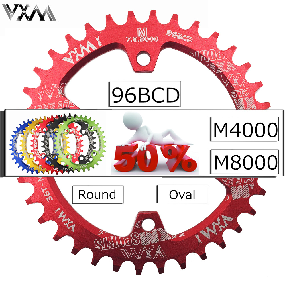 VXM 96BCD Bicycle Chainring 30T/32T/34T/36T/38T Narrow Wide Round Oval Cycle Chainwheel Bike Circle Crankset Plate Bicycle Parts