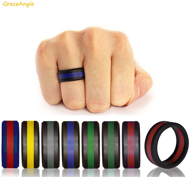 GraceAngie 1PC Colorful Three Layered Silicone Ring Environmental Men Wedding Pa