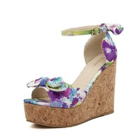 Summer High Quality Flower Sandals Big Size Sweet Casual Ladies Platform Gladiator Sandals Open Toe Wedge High Heel Shoes Woman