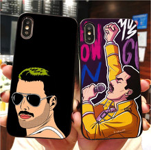 купить Freddie Mercury Queen Black soft silicone TPU Phone Cover Case For iPhone Max XR XS X10 5 5S 5SE 6 6SPLUS 7 7Plus 8 8Plus по цене 78.16 рублей
