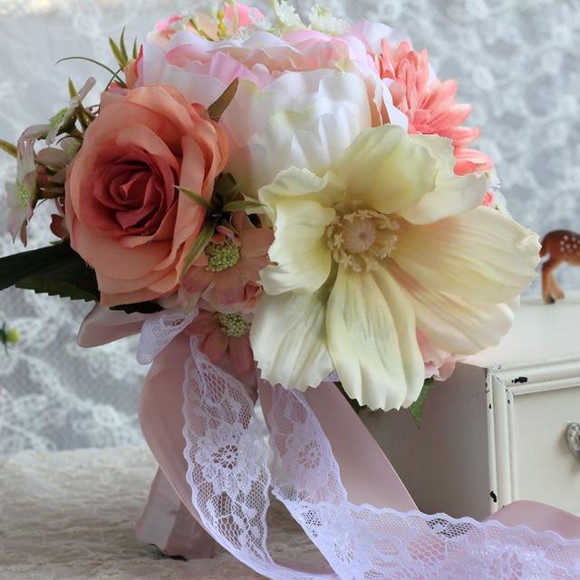 2016 Wedding Flowers Bridal Bouquets Fashion Colorful Elegant Handmade Artificial Flowers Bridemaids Holding Flowers