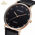 KINGSKY Luxury Wrist Watches PU Leather Strap Black Rose Case Fashion Brand New Arrival quartz Watch relogio feminino For  Women