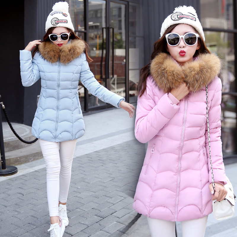 2016 New Arrival winter jacket women fashion down cotton jacket long sleeve Slim large fur collar hooded winter coat women parka new arrival fashion korean winter hooded cotton adjustable hem double breasted puff sleeve fur collar women jacket coat h4283