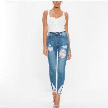 ceb6e224e801 Nuevos pantalones vaqueros ajustados de moda 2016 para mujer, pantalones de  mezclilla con agujeros, pantalones de lápiz hasta la rodilla, pantalones ...