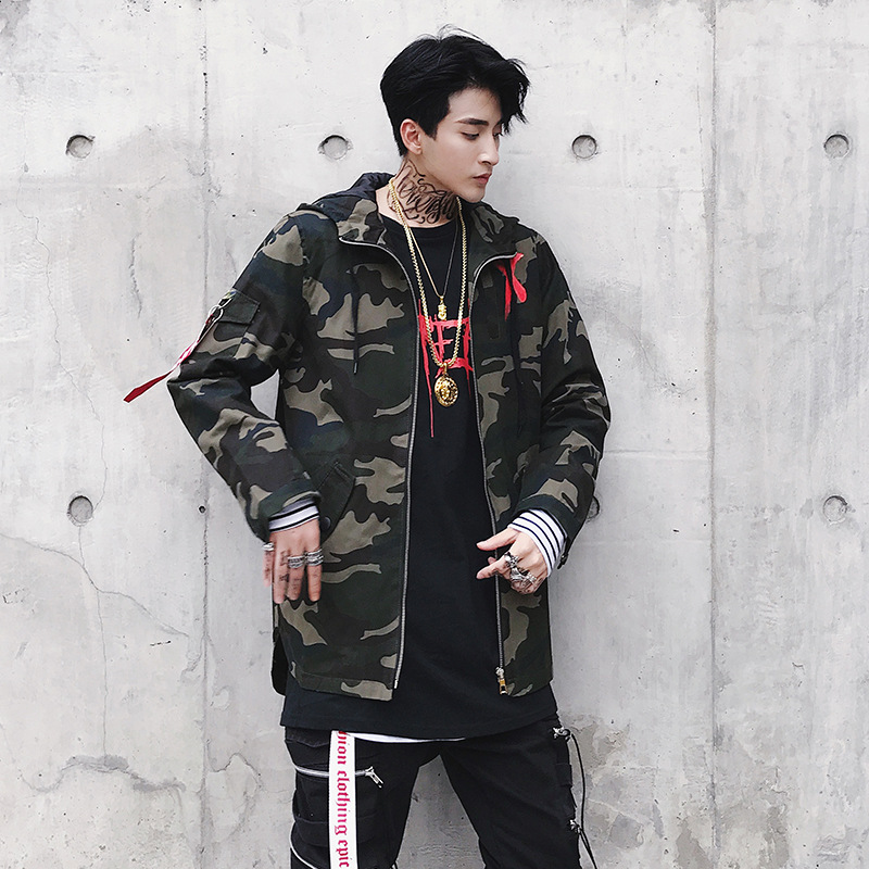 HTB1uDFggHsTMeJjSszgq6ycpFXa6 Camouflage Jacket Men Coats High Street Ribbon Patchwork Cotton Men X Print Bomber Coat Autumn Harajuku Pilot Flight Jacket