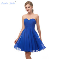Sapphire Bridal Women's Short Homecoming Dress Sweetheart Pleated Chiffon Royal Blue Simple Short Party Gowns for Juniors