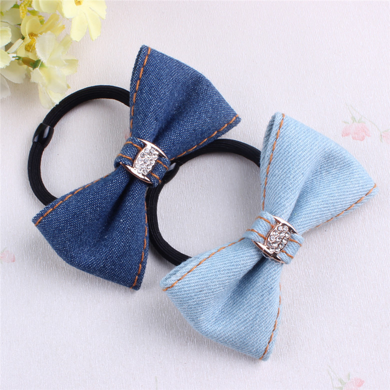 2016 New Girls Knotted Bows Elastic Hair Ties Band Rope Denim Ponytail Holder Headband Women Hair Accessories 2016 sale new arrival headband korean flower cartoon girls elastic hair bands accessories rope ties princess gift 6 pcs