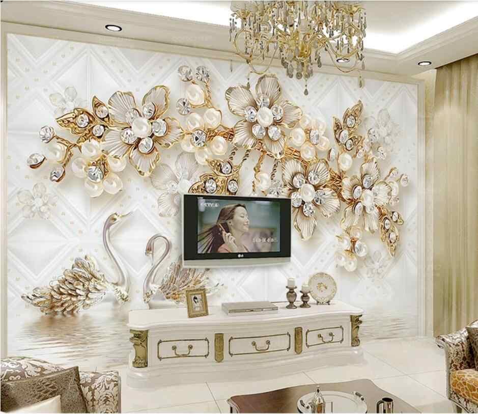 الفاخرة زهرة لينة حزمة 3d سوان مجوهرات التلفزيون حائط الخلفية ورق حائط للزينة الجداريات