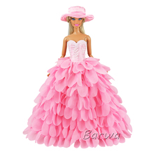 2019 Handmade High Quality Pink Party Wedding Princess Doll Accessories Clothes For Barbies Doll Best Gift Dolls Dress For Girl
