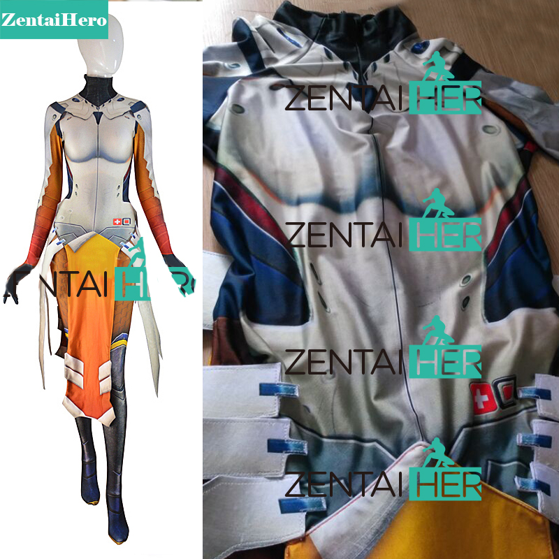 ZentaiHero 3D Басып шығару Mercy Costume Armored W Strips - Костюмдер - фото 1