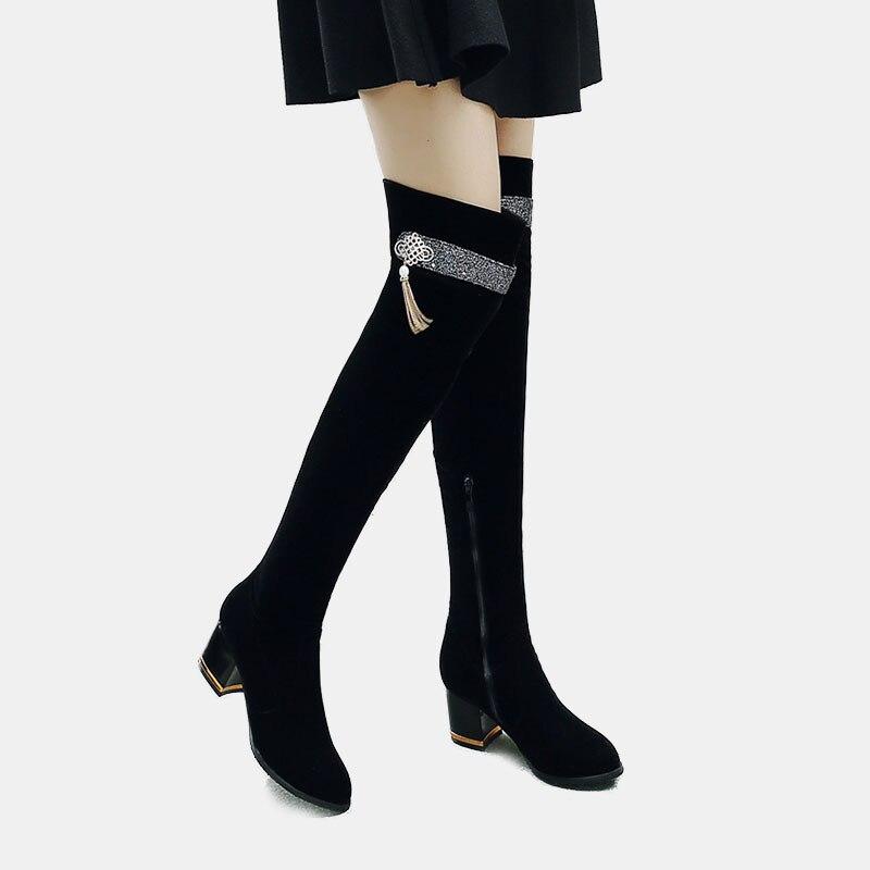 60fdb8197 US $31.2 48% OFF knee high boots for women luxury black velvet winter  booties glitter crystal charm block heels elegant office dress long boot-in  ...