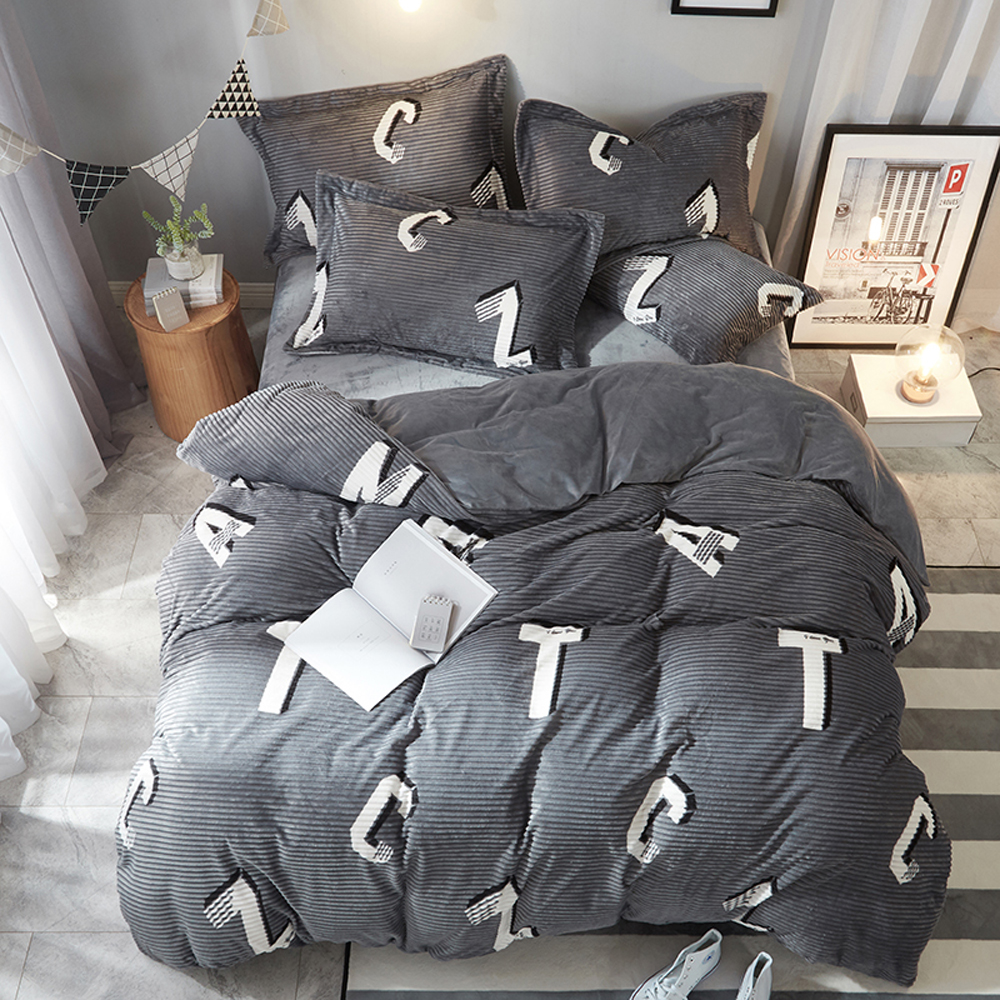 2018 English Letters Grey Stripes Bed Covers Microfiber Fleece Bedding Sets Winter Thick Warm Queen King Size Duvet Cover Set2018 English Letters Grey Stripes Bed Covers Microfiber Fleece Bedding Sets Winter Thick Warm Queen King Size Duvet Cover Set