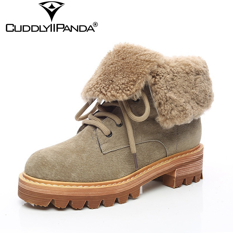 CuddlyIIPanda 2018 New Winter Warm Matte Leather Boots High Quality Women Martin Boots Warm Winter Boots Faux Fur Ankle Boots faux fur white winter boots