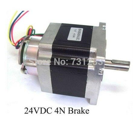 цена на 2pcs/lot Nem 34 stepper motor 24VDC 2N (278oz-in) brake stepper 86 mm 4-lead 80 mm body length Nema34 brake