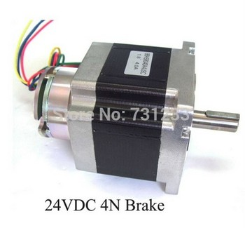 Nem 34 stepper motor 24VDC 4N  brake stepper 86 mm 4-lead 80 mm body length Nema34 brake