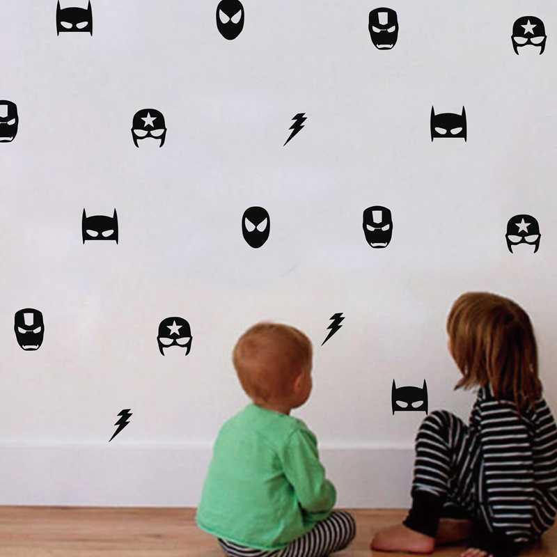 Superhéroe máscara pegatinas de pared niños decoración de dormitorio de niño, Batman Superman Ironman Boy hero Flash vinilo calcomanías artísticas de pared