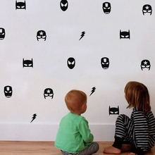 Marvel Superhero Masks Patterned Wall Stickers