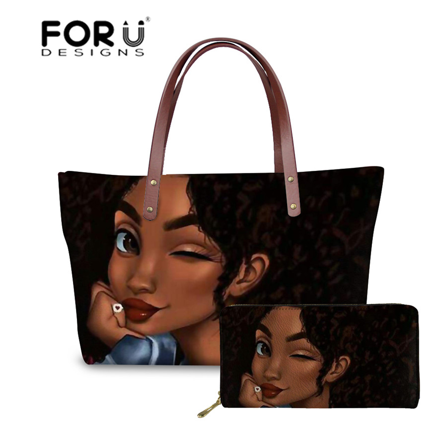 FORUDESIGNS Brand Luxury Design Handbags Women Black Art African Girl Printing 2pcs/set Hand Bag&Wallet Females Top-Handle Bags