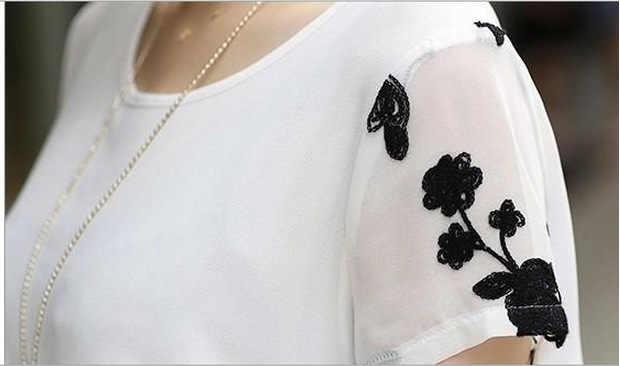 2019 Формальные вышитые женские блузки белый цветочный короткий рукав шифоновое длинное Туника Футболка негабаритных летние женские Топы CJ770