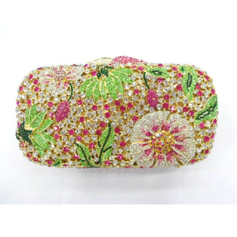 ФОТО 8122 - TL Multi-color Floral Flower Crystal Bridal Party Night Hollow Metal Evening purse clutch bag case box handbag