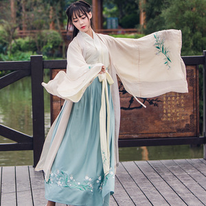 Image 2 - 중국어 번체 요정 의상 고대 한 왕조 공주 의류 국립 hanfu 복장 무대 복장 민속 무용 의상 90