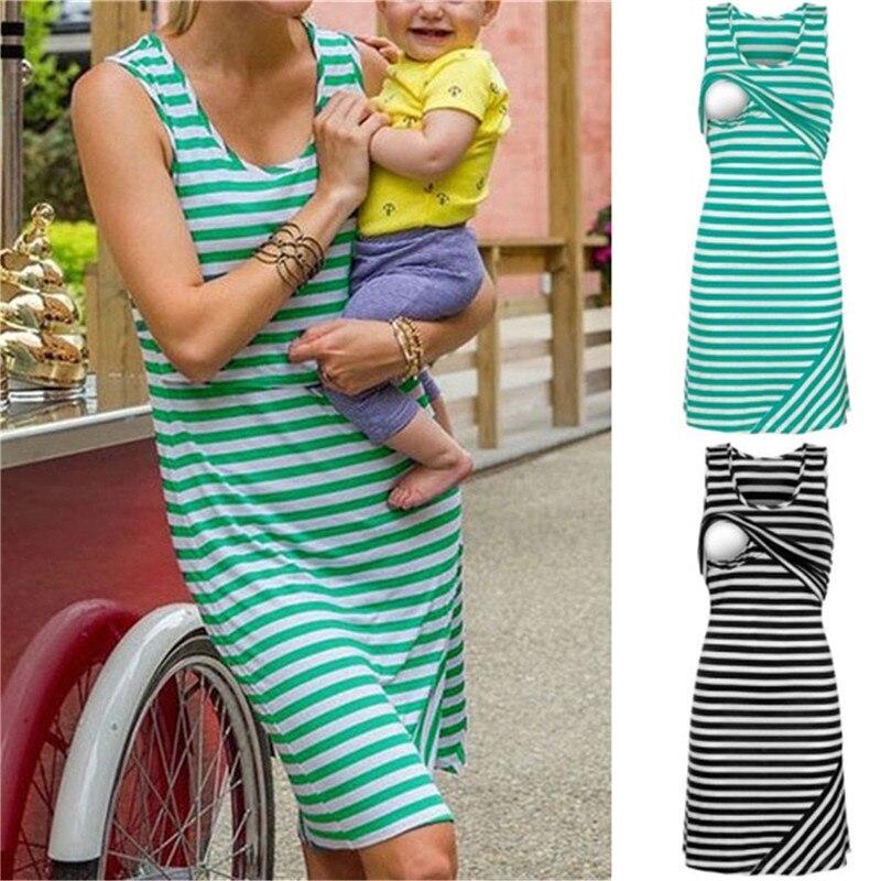 NEW Women Summer Mom Maternity Clothings Breastfeeding Nursing Dress Sleeveless Striped Dress