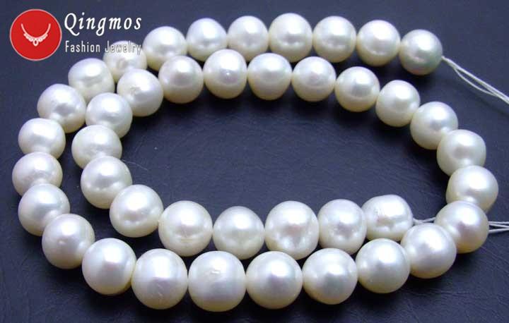 Qingmos 12 13mm perlas blancas cuentas sueltas para hacer joyas con perlas de agua dulce redondas naturales hebras 14 los45 envío gratis