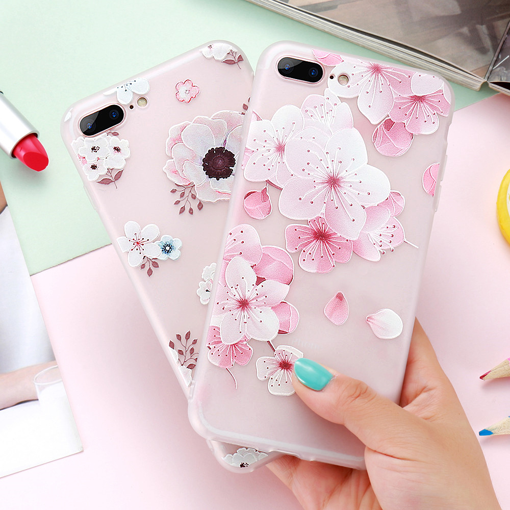 DOEES Flower Relief Case For iPhone 6S 7 8 Plus Cover Soft Silicone TPU Protective Cover For iPhone X 8 7 6 Plus 5 SE Phone Case