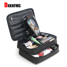 The Latest Hot Fashion Nylon Waterproof Two-layer Cosmetic Bag Casual Wild Makeup Travel Organizer Big  Kosmetyczka Maleta