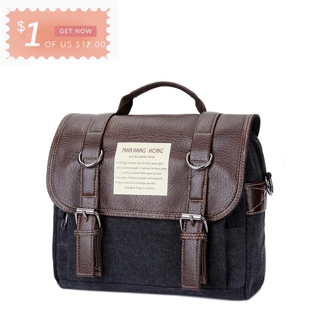 Leather Men Messenger Bags Vintage Shoulder Bag Men Canvas Casual Crossbody Bags For Men Male Handbag 1