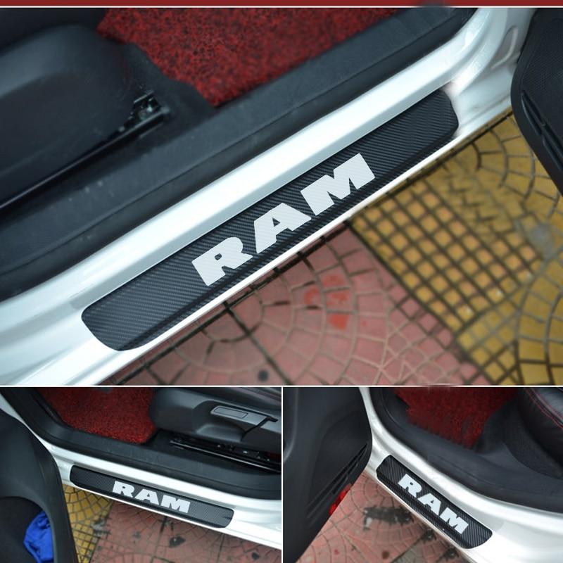 For Dodge RAM Door Sill Plate Carbon Fiber Car Scuff Sticker Door Sill Sticker Door Sill Decoration Scuff Plate Vinyl Sticker
