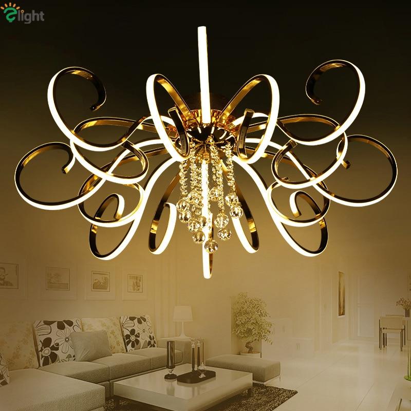 Post Modern Foyer Banhado A Onda Led Regulável luz De Teto Cromado Metal Ouro Lâmpada Do Teto Lustre Luminária Moderna Luminária de Teto