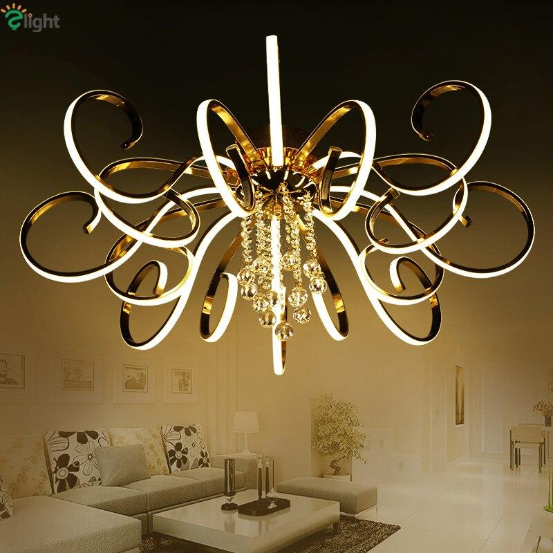 Post-Moderne Foyer Plaqué Curl Led Plafond lumière Chrome Or Métal Dimmable Plafond Lampe Lustre Luminaire Moderne Plafonnier