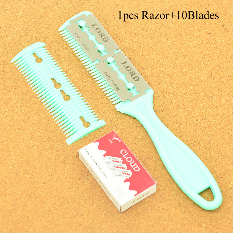 Meisha 1Pcs Double Sides Hair Razor Comb & 10Pcs Blades Cutting Thinning Comb Men Women Hair Trimmer DIY Styling Tools HC0001