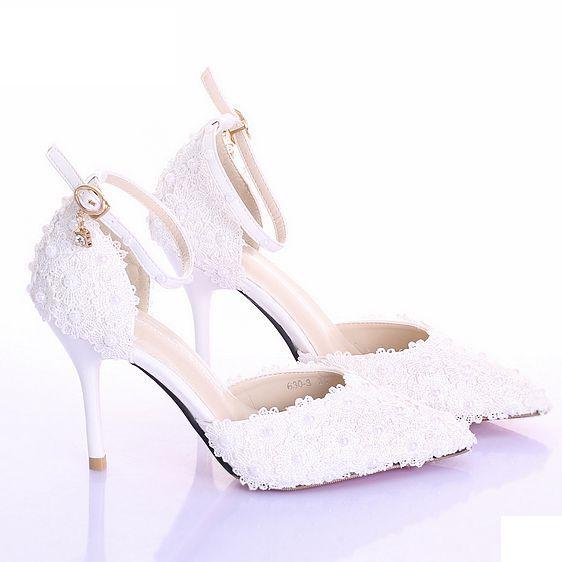 cba916d901c113 White pearl rhinestone flower bridal shoes ultra high heels thin heels  performance shoes pointed toe female