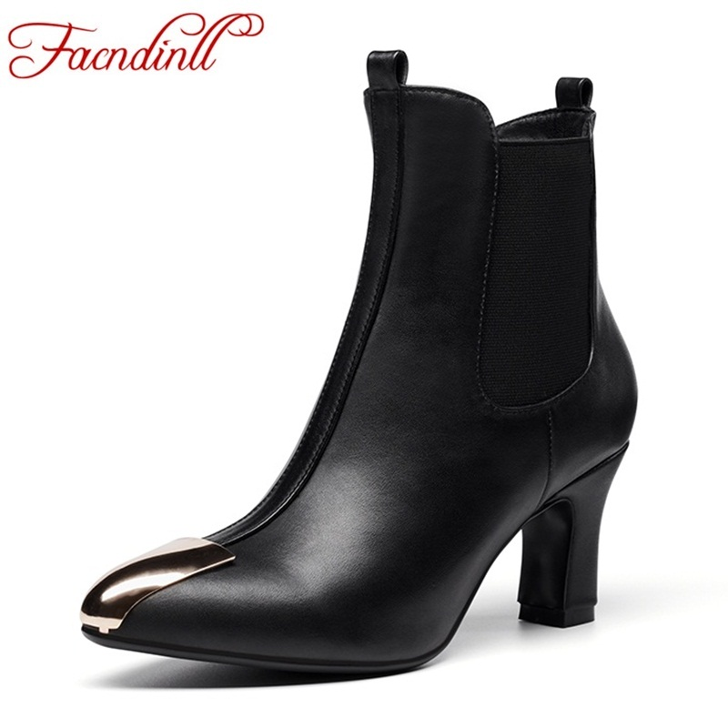 VANKARING spring autumn fashion genuine leather ankle boots slip on high heels shoes woman chelsea rain boot women's shoes black farvarwo formal retro buckle chelsea boots mens genuine leather flat round toe ankle slip on boot black kanye west winter shoes