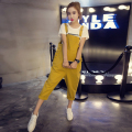 Summer Autumn Shorts Plus size Korean Womens Jumpsuit Denim Overalls Casual Loose Girls Pants Jeans Short Yellow Black