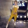 Verano Otoño Más El tamaño de Corea Para Mujer Mono Overol de Mezclilla Flojos Ocasionales Pantalones Vaqueros Niñas Corto Amarillo Negro