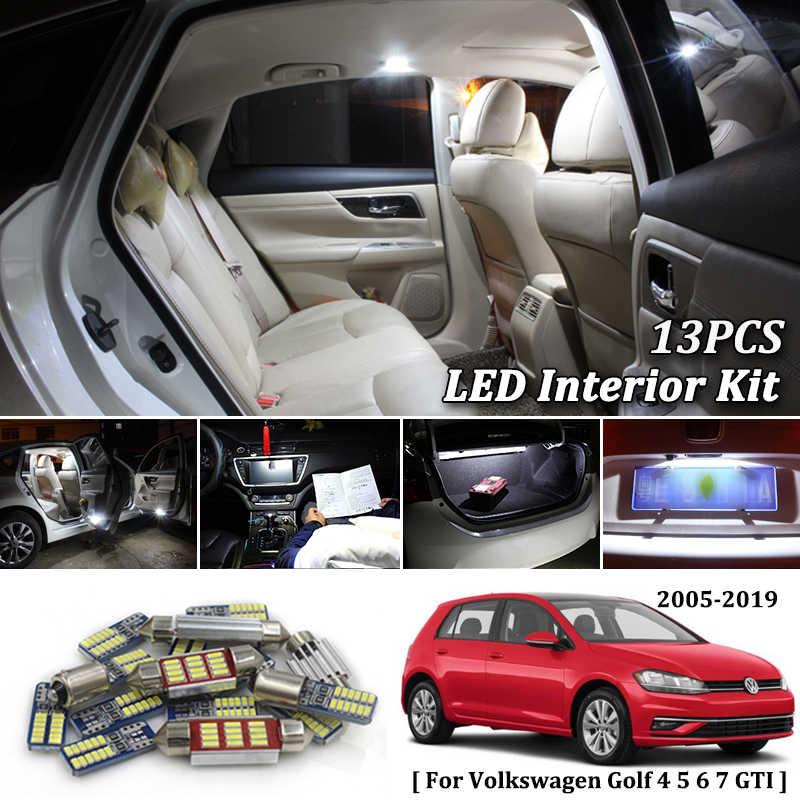 13X White Canbus led Car interior lights Package Kit for 2005- 2017 2018  2019 VW Volkswagen Golf 4 5 6 7 GTI led interior lights