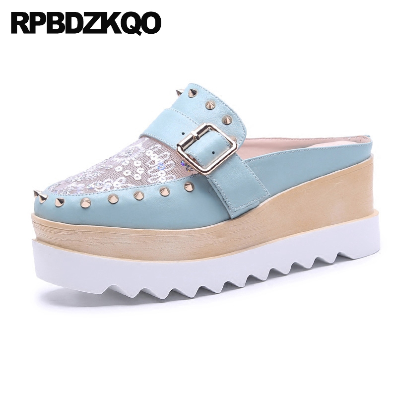 Blue Stud Embroidery Sandals Slides Flatform Lace Flat Nice Sequin Platform Glitter Mules Designer Shoes Women Luxury 2018 Rivet insect embroidery flat mules