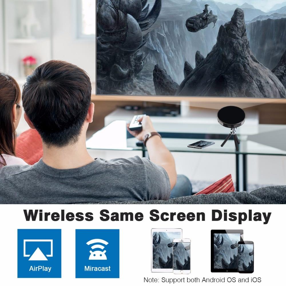 Exquizon UFO R6 DLP projector HD Mirror Wireless Wifi Mini LED DLP mini Projector portable with Battery HDMI USB support 1080P (4)