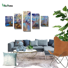 5 Pieces Panel Painting Print Modern Decorative Canvas Ink Of Flowers  Modular Pictures Large Wall