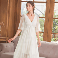 Women Sweet Princess Nightgowns Lace Elegant Home Wear Dress Long Sleepshirts Modal Cotton Sleepwear Loose Negligee Nightdress