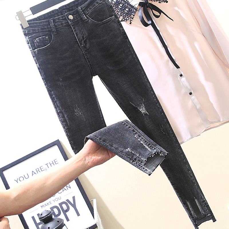 Smoke Gray Jeans for Women New Spring Summer Autumn Ripped Hole Elastic Skinny Pencil Pants Ankle-length Female Denim Pants