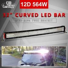 цена на CO LIGHT 32inch 12D Combo LED Work Light Bar Curved 4 Row Auto Offroad Driving Light for Truck Pickup Wagon Car LED Bar 12V 24V