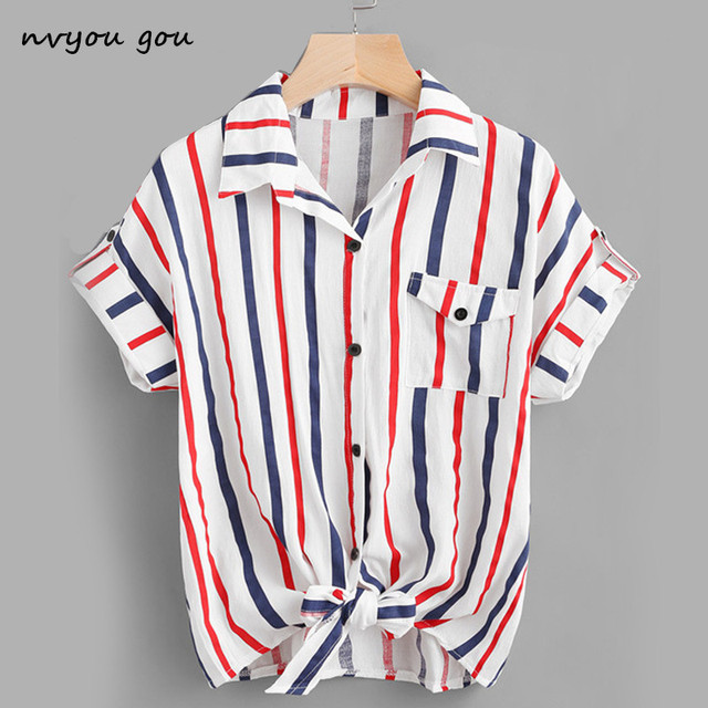 08cea0a566e nvyou gou White Floral Embroidery Blouse Women Stripe Short Sleeve Top 2018  Summer office Turn Down Collar Casual Loose Shirt