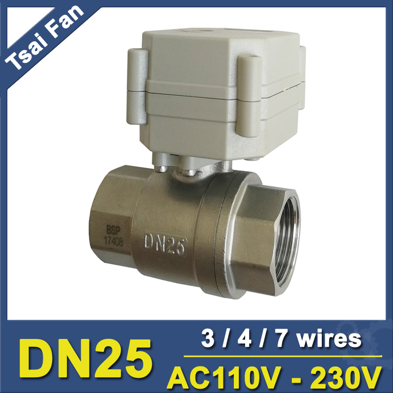 AC110-220V BSP/NPT 1 Automated Motorize Valve With Indicator 3/4/7 Wires TF25-S2-C Stainless Steel DN25 Metal Gear CE/IP67 hot tf25 s2 b dn25 full port ss304 electric water valve with manual 2 way bsp npt 1 dc12v dc24v 2 3 5 7 wires metal gear