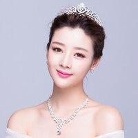 Silver Color Rhinestone Bridal Jewelry Sets Handmade Necklace Earrings Fashion Wedding Bijoux Sets Brides Tiara Crown