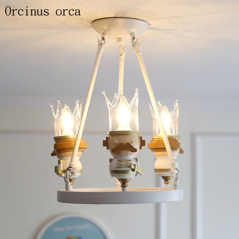 Cartoon creative King chandelier boys and girls bedroom children room lights American modern personality LED doll pendant lamp