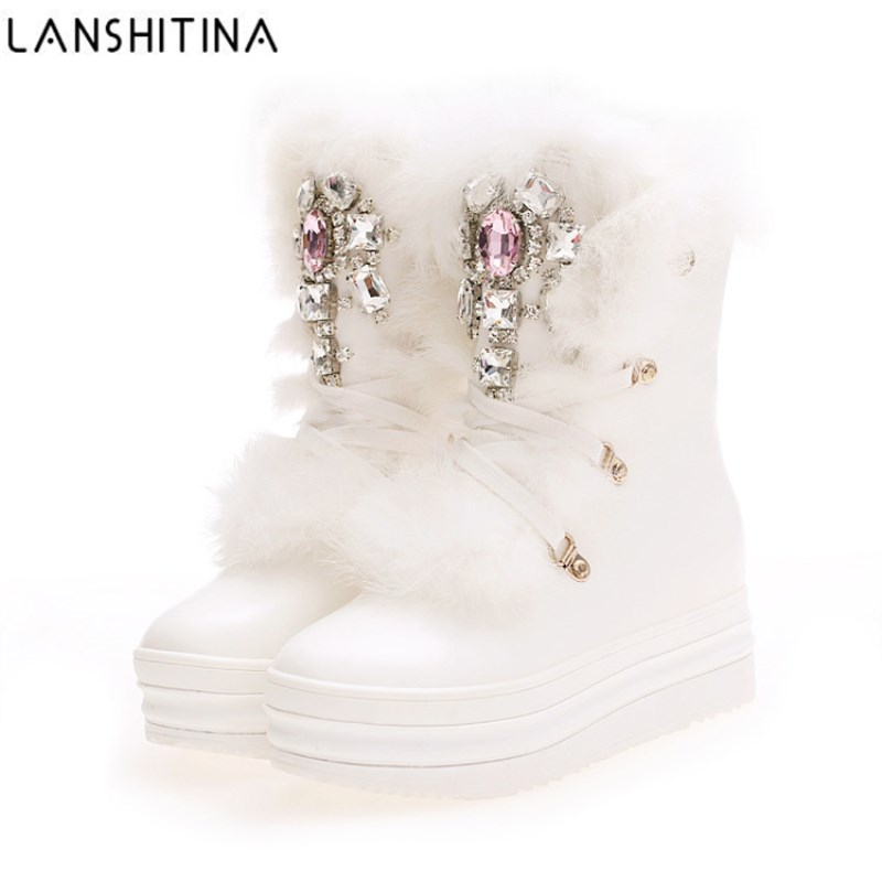 2019 NEW Real Rabbit Fur Winter Boots Rhinestones Diamond Snow Boots Thick Warm High Top Women